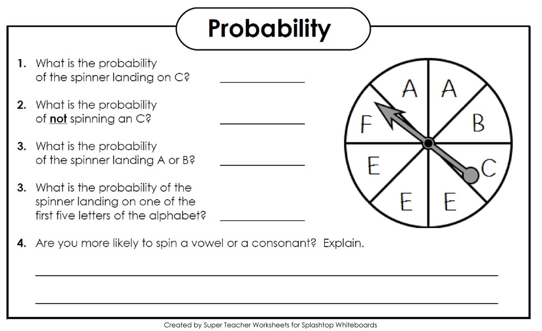 Probability spinners worksheet year 5