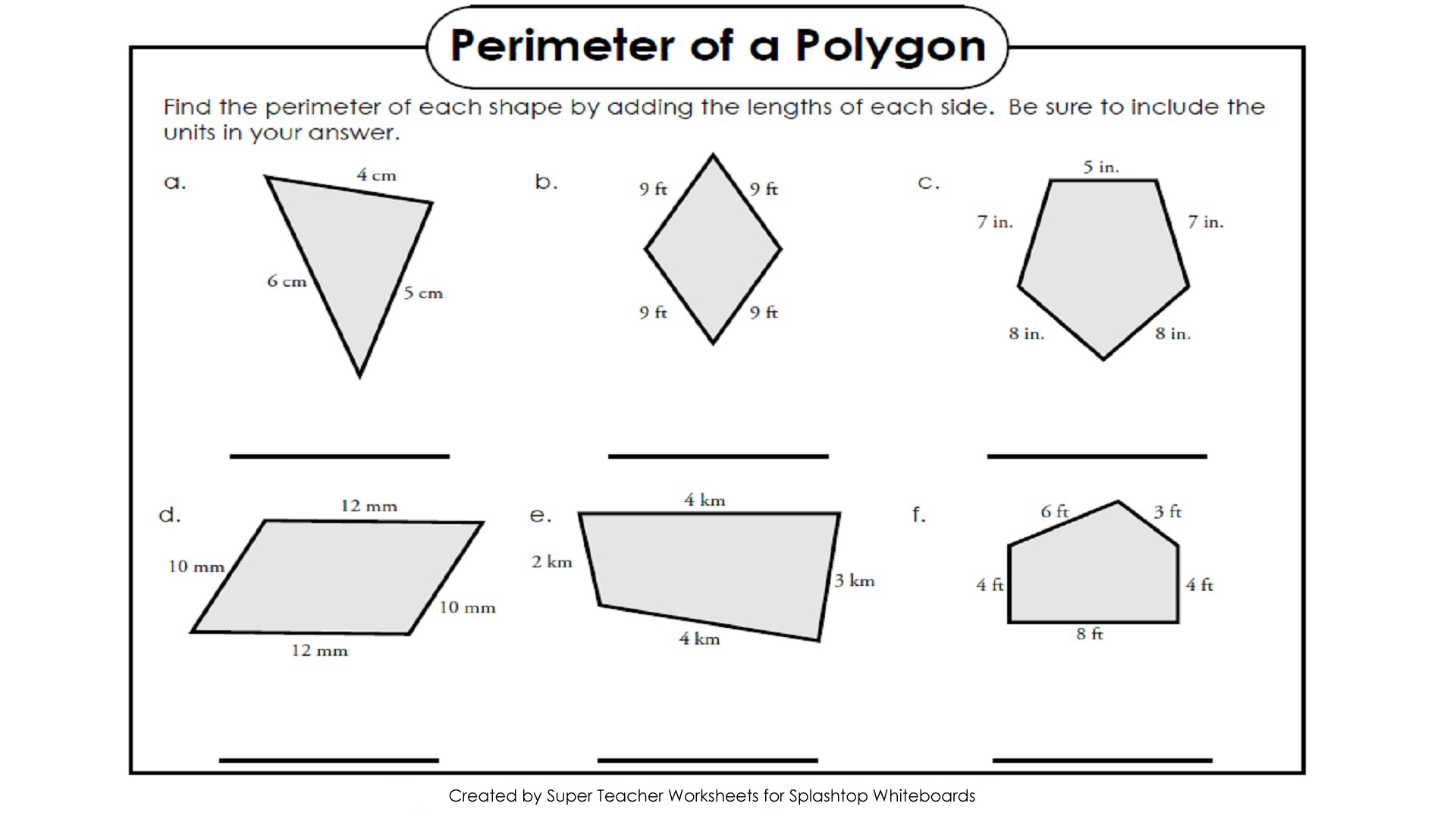 Splashtop Whiteboard Background Graphics – Perimeter of Irregular Shapes Worksheet