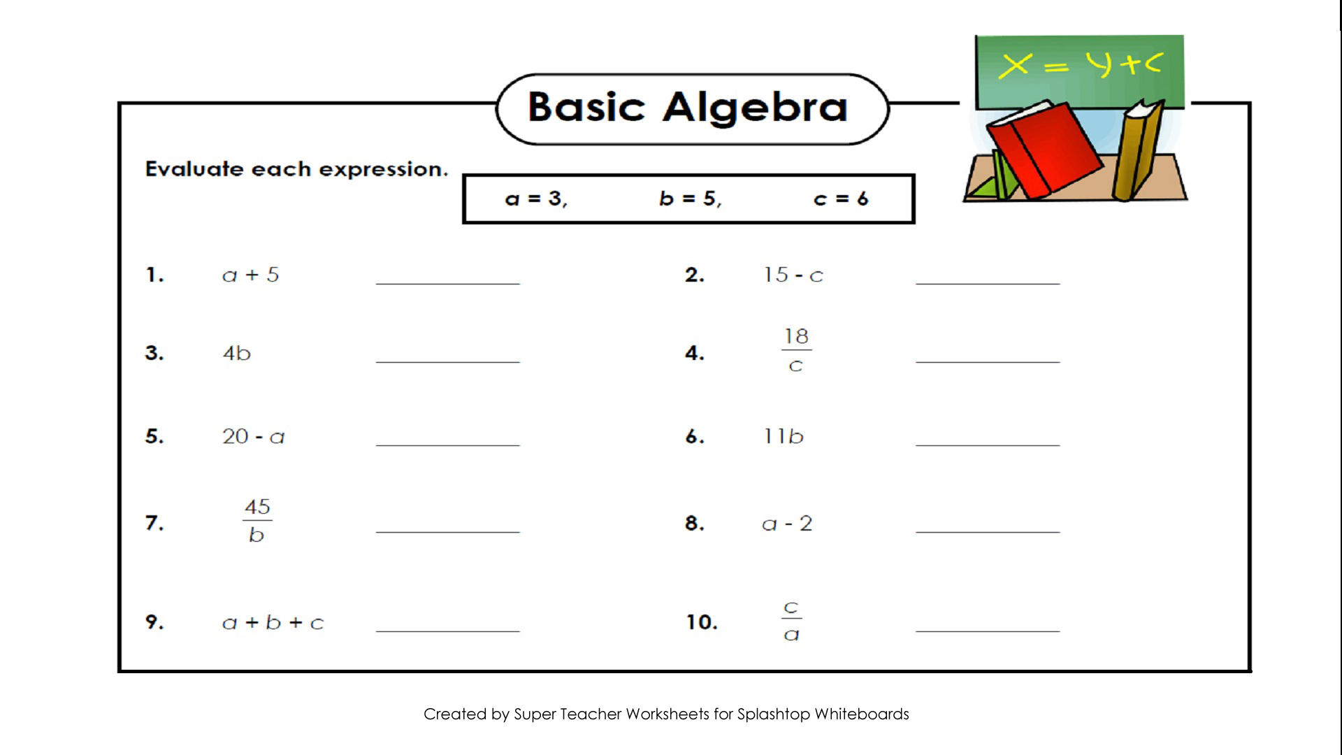 Worksheets Evaluating Expressions Worksheets splashtop whiteboard background graphics algebra basic evaluate each expression