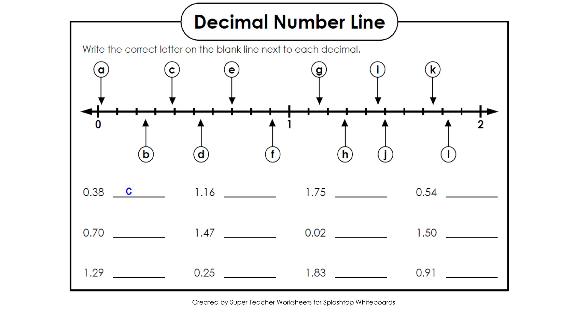 decimal value with the correct letter on the number line. All decimal ...
