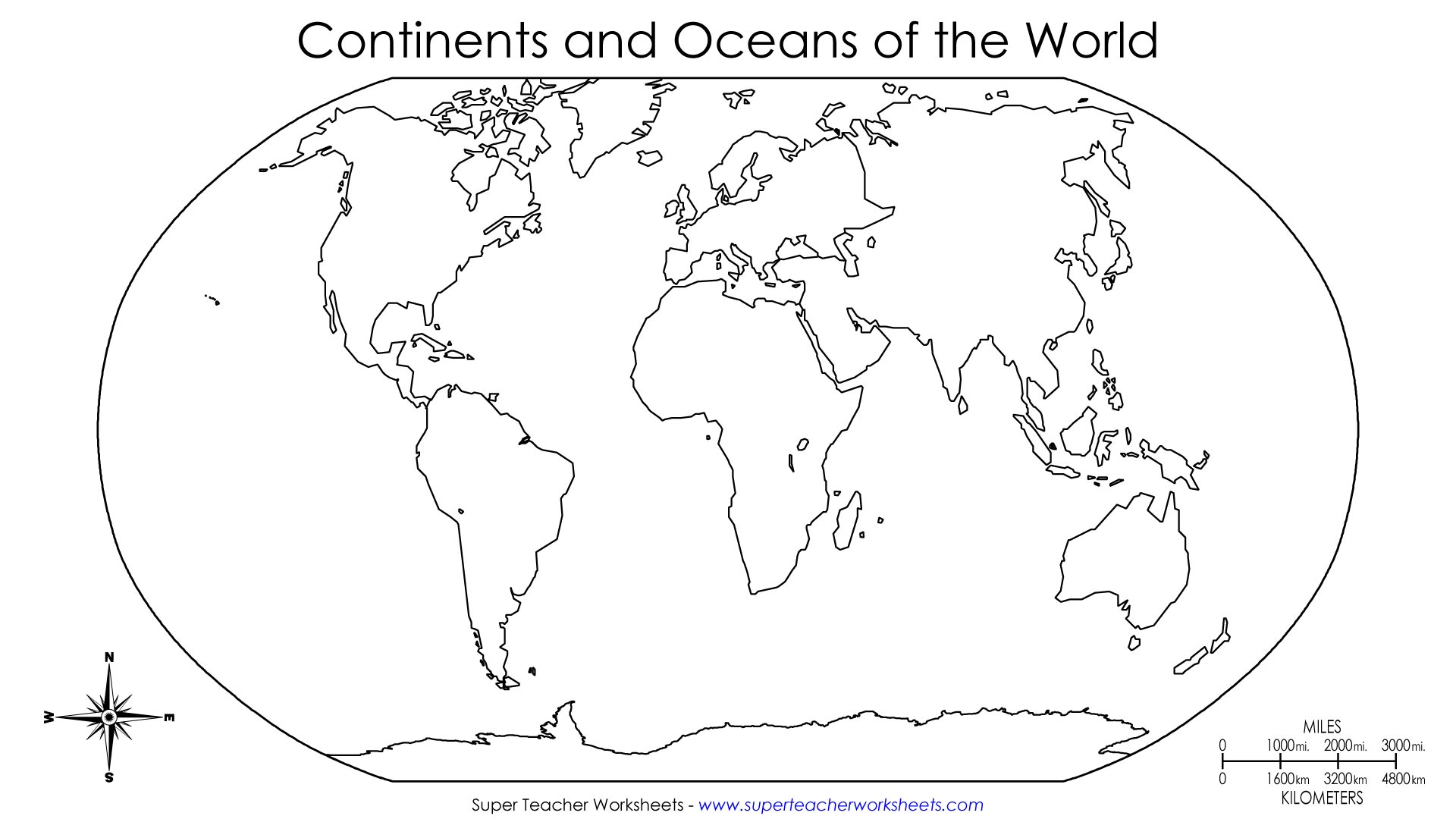 Blank World Map Continents And Oceans | White Gold