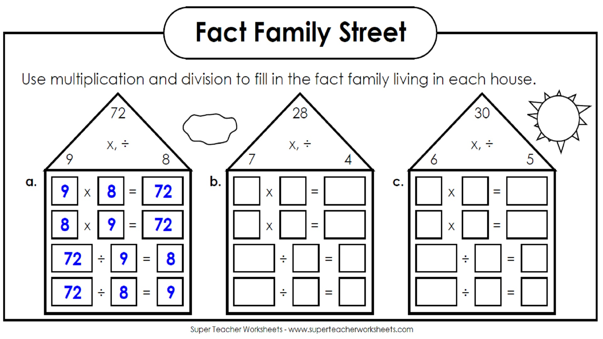 Multiplication and division facts live in families on this street ...
