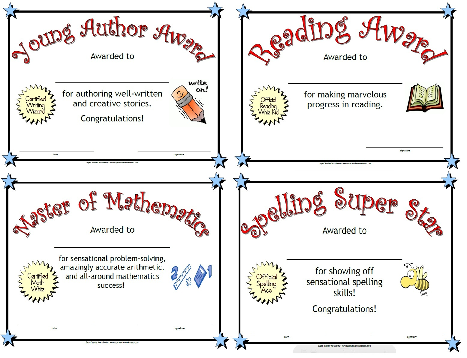 worksheet Superteacher Worksheets award certificates for kids
