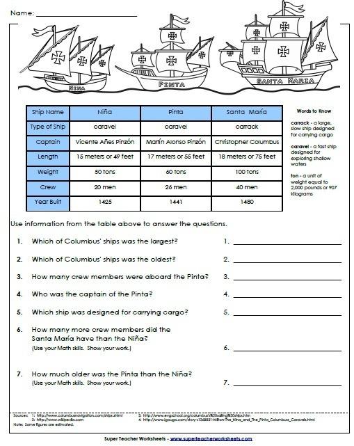 {Columbus Day Worksheet – Columbus Day Math Worksheets