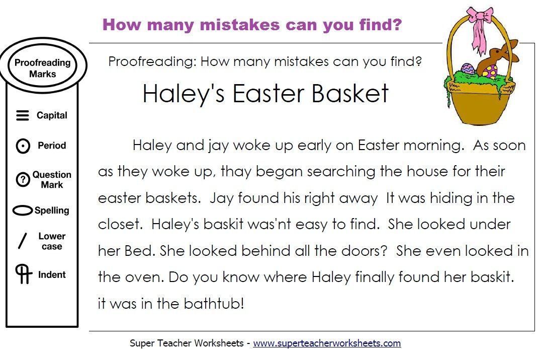 Printables Grammar Correction Worksheets editing easter basket paragraph