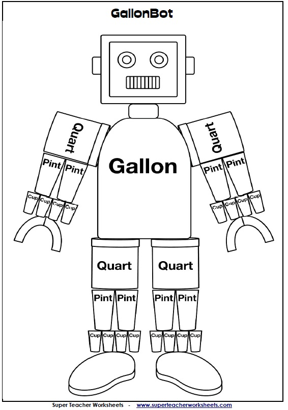 Gallon Bot – Liquid Measurement Worksheets