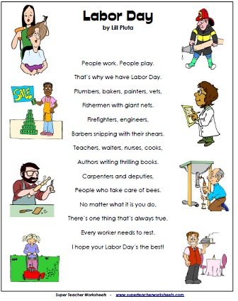 Printables Labor Day Worksheets labor day poem