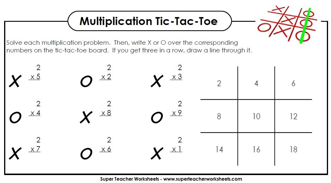Multiplication Game TicTacToe – Worksheets of Multiplication