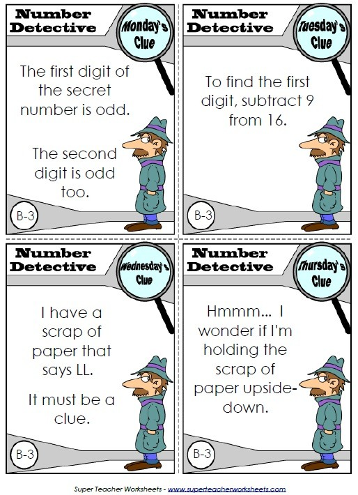 Number Detective Cards