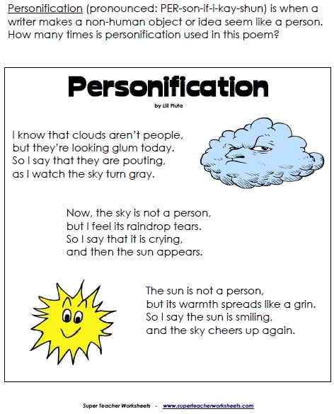 Printables Personification Worksheets personification