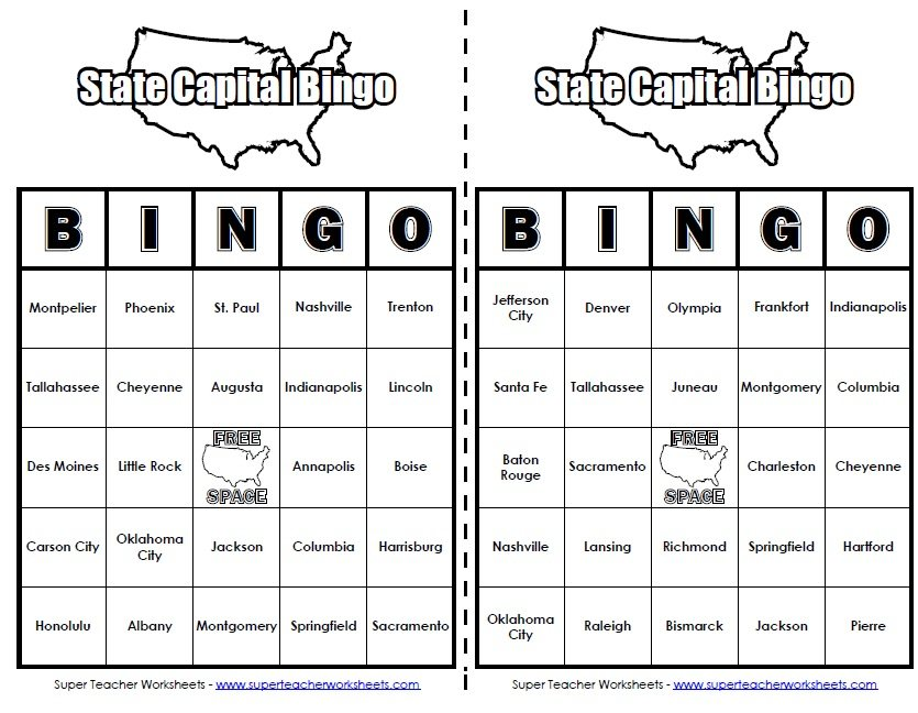 Printables States And Capitals Worksheets states capitals bingo 50 bingo