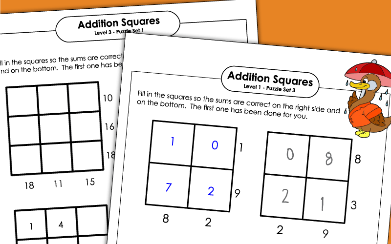 Addition Square Puzzles