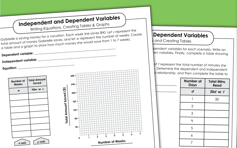 Dependent And Independent Variables - Worksheets