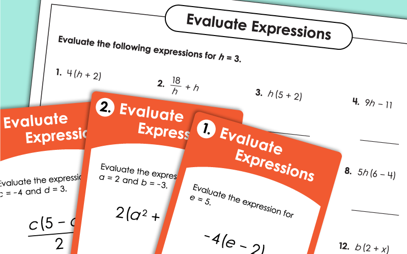 Evaluating Algebraic Expressions Worksheets
