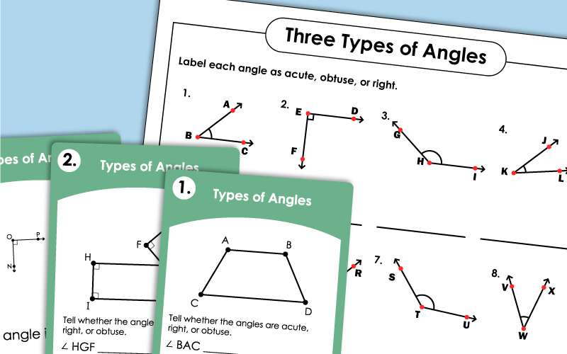 Acute, Obtuse, Right Angles Worksheets