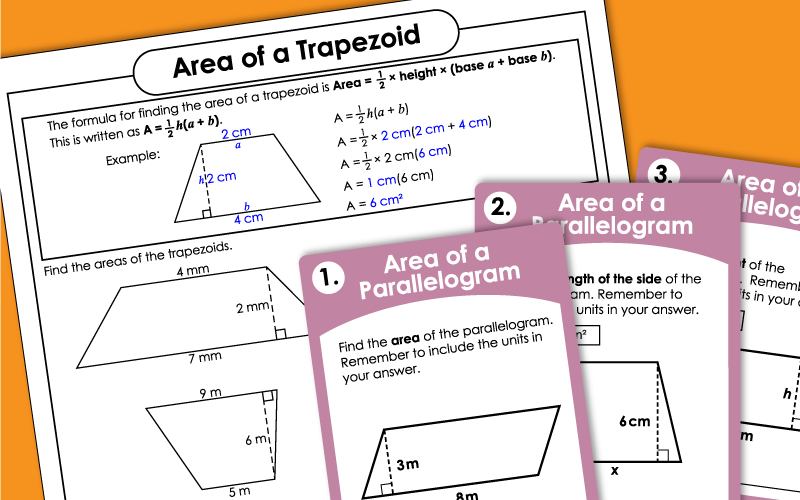 Areas of Parallelograms and Trapezoids Worksheets