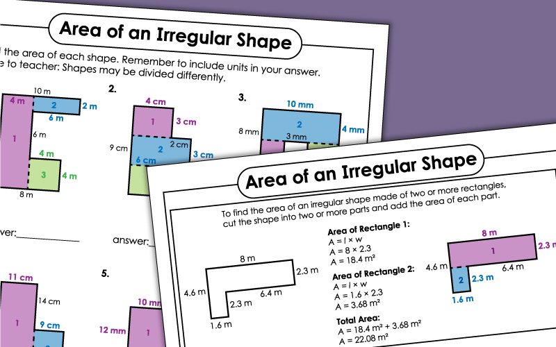 Areas of Irregular Shapes Worksheets
