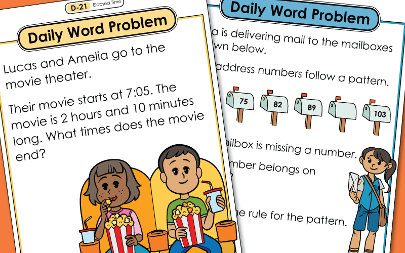 daily word problems d Worksheets