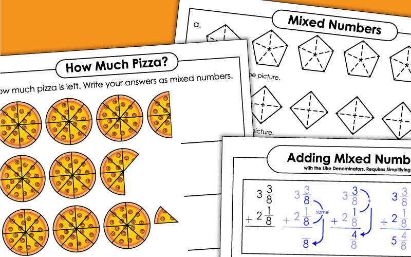 fractions mixed numbers Worksheets