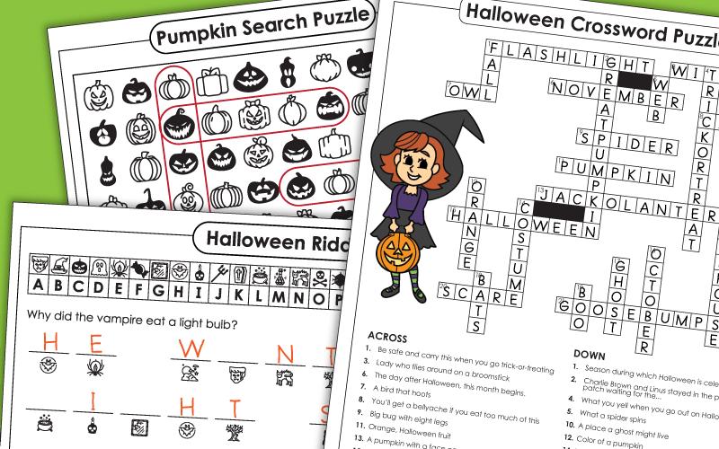 Printable Halloween Puzzle Classroom Games