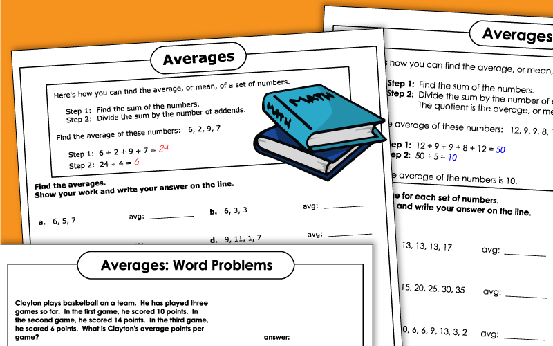 mean averages Worksheets