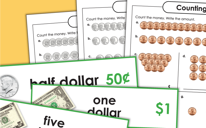 money counting single coins Worksheets