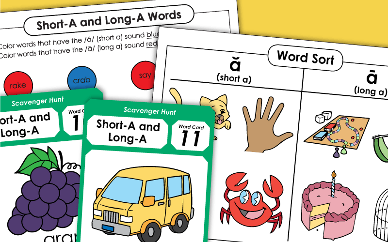 phonics short a and long a Worksheets