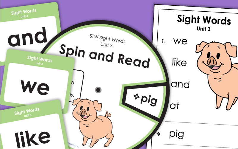sight words unit 3 Worksheets