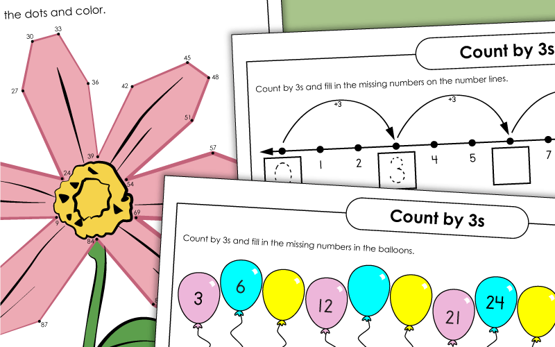 skip counting 3s Worksheets