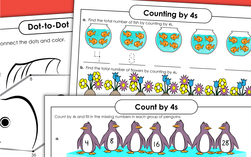skip counting 4s Worksheets