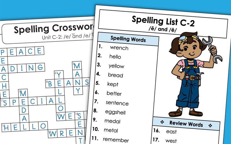 Third Grade Spelling Unit C-2