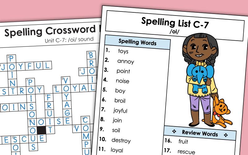 Third Grade Spelling Unit C-7