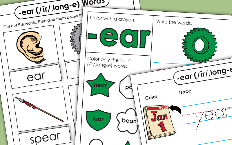 Word Family Worksheets Ear Words