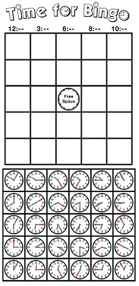 Telling Time Bingo (Clocks)