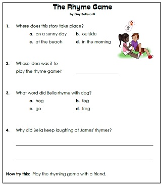 1st Grade Reading Comprehension Printables