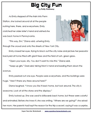 Reading Comprehension Stories Questions Worksheets