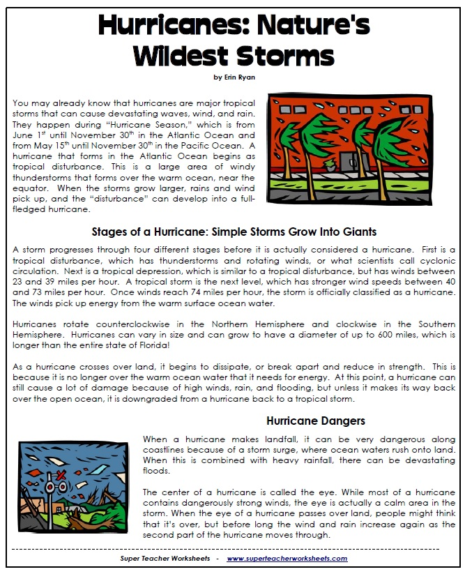 Reading Comprehension 5th Grade Worksheets – Hurricane Worksheets