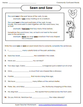 Been is past tense of which verbs worksheets for grade 2