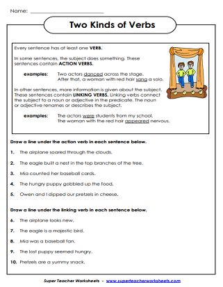 Verb Worksheets Action Verbs Linking Verbs Verb Tenses
