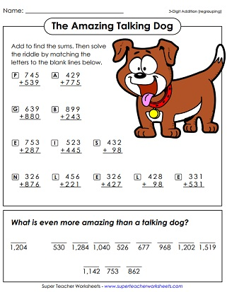 Addition Worksheets (3-Digit)