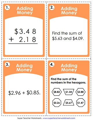 adding money worksheets task cards adding money adding money riddle worksheet