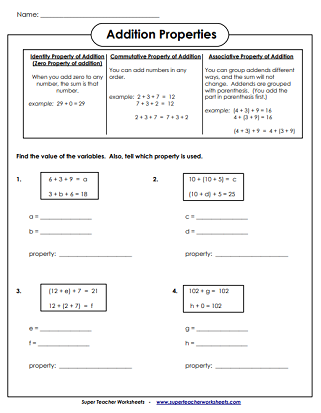 addition worksheets associative commutative  identity zero  addition properties printables addition properties worksheets