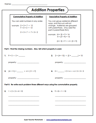 addition worksheets associative commutative  identity zero  addition properties worksheets
