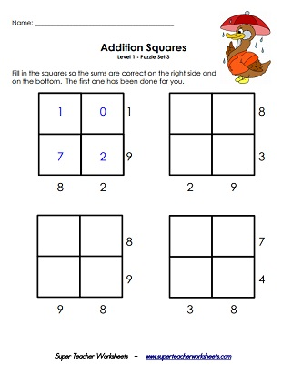 photo regarding Easy Logic Puzzles Printable called Addition Squares - Logic Puzzle Worksheets