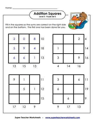 Addition Squares Logic Puzzle Worksheets