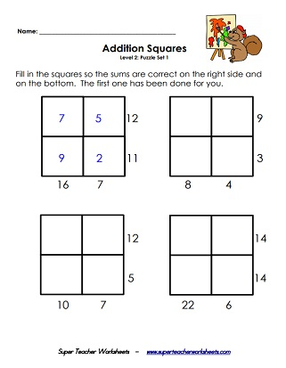 Addition Squares Printable