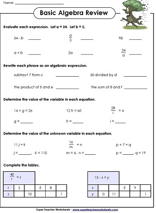 Printables Algebra Review Worksheets algebra worksheets basic printables