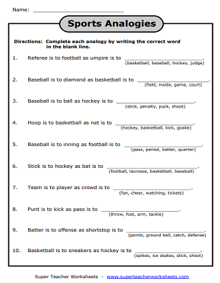 Analogies Worksheets