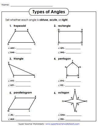 Angle Types Acute Obtuse Right Worksheets