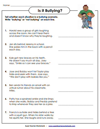 anti bullying worksheets activities. Black Bedroom Furniture Sets. Home Design Ideas